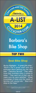 Barb's Bike Shop - Cape Cod A-List award winner for Summer 2014