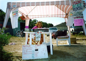 Barbara Fallon under her tent at the Cape Cod Rail Trail circa 1991