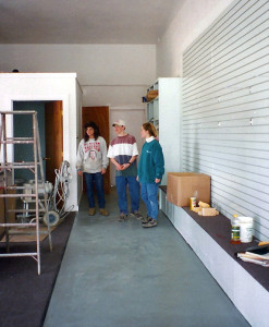 Barbara's sister Diane, son Mike & daughter April in the current shop space circa 1995